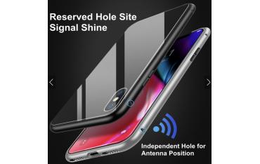 iPhone XS Max Double-Sided Magnetisk Aluramme Cover med Beskyttelsesglas Sort