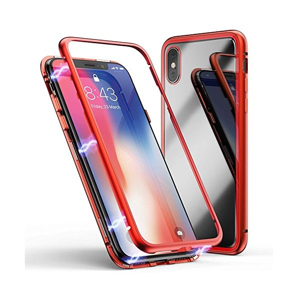 iPhone XS Max Double-Sided Magnetisk Aluramme Cover med Beskyttelsesglas Rød