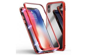iPhone XS Max Double-Sided Magnetisk Aluramme Cover med Beskyttelsesglas Rød