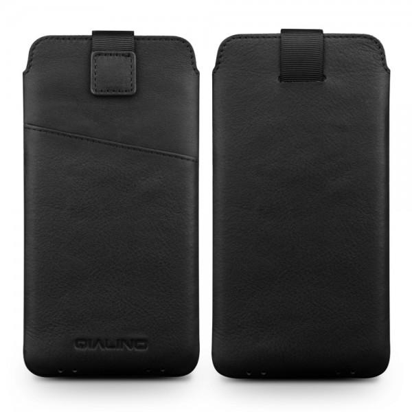 QIALINO Universal Smartphone Ægte Læder Sleeve - XXL - Sort