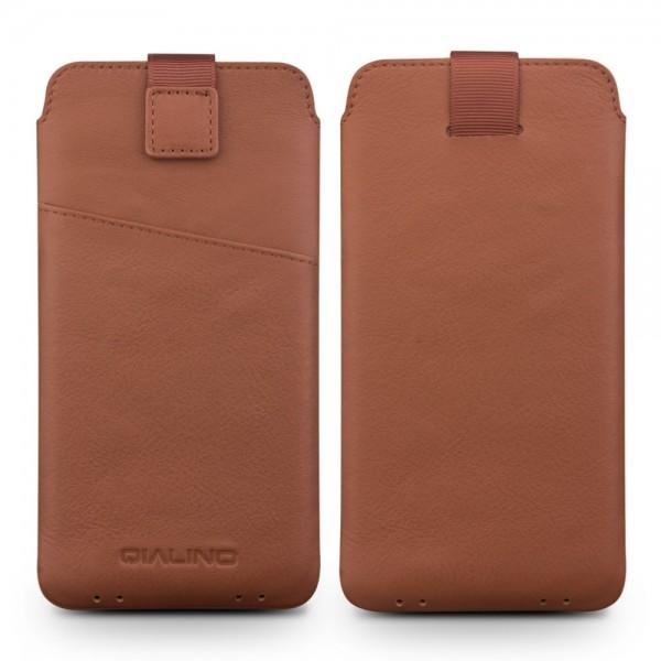 QIALINO Universal Smartphone Ægte Læder Sleeve - XXL - Brun