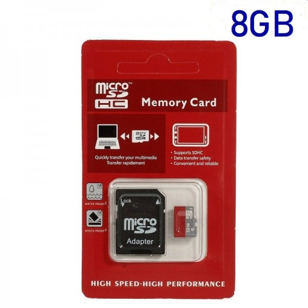 8GB High Speed MicroSD TF Memory Card med SD Adapter