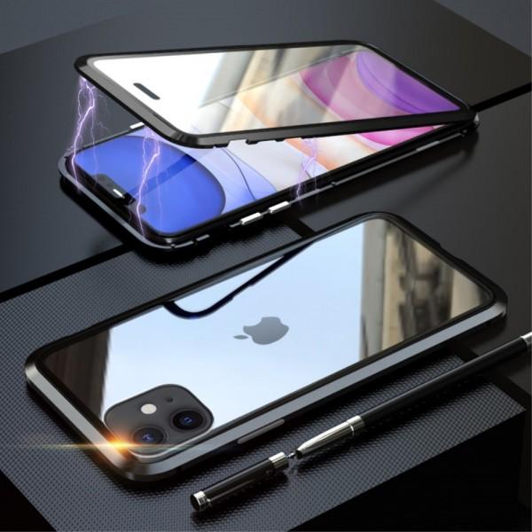 iPhone 11 LUPHIE Magnetisk Cover med Beskyttelsesglas til Bagsiden - Sort