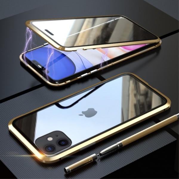 iPhone 11 LUPHIE Magnetisk Cover med Beskyttelsesglas til Bagsiden - Guld