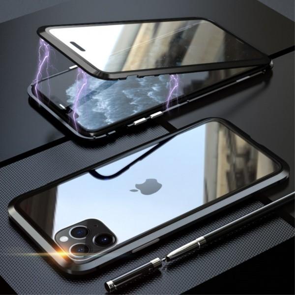 iPhone 11 PRO LUPHIE Magnetisk Cover med Beskyttelsesglas til Bagsiden - Sort
