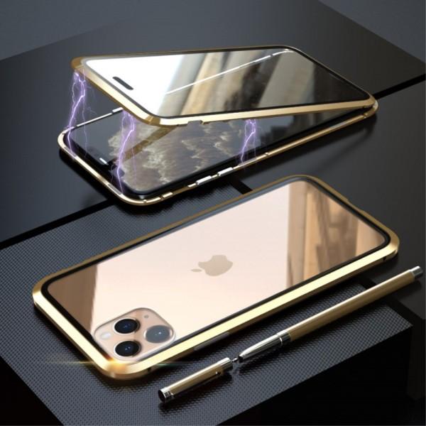 iPhone 11 PRO LUPHIE Magnetisk Cover med Beskyttelsesglas til Bagsiden - Guld
