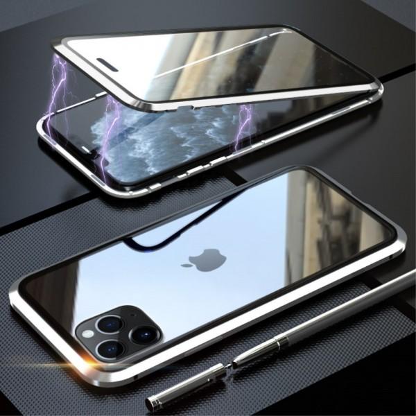 iPhone 11 PRO LUPHIE Magnetisk Cover med Beskyttelsesglas til Bagsiden - Sølv