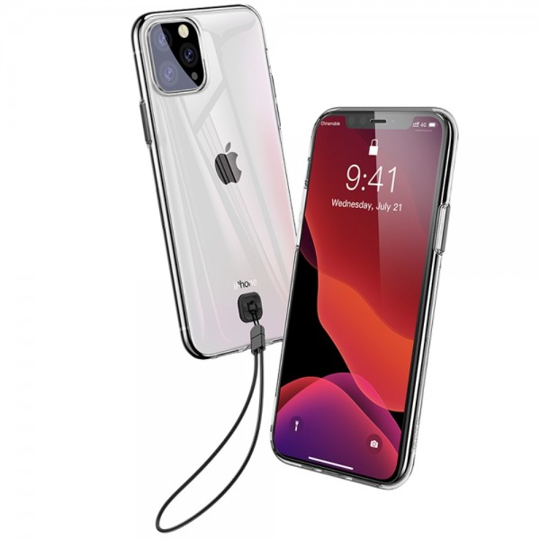 iPhone 11 PRO MAX BASEUS Clear TPU Cover - Gennemsigtig Sort
