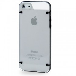 2 - Farve TPU & Transparent Cover til iPhone 5/5S - Sort