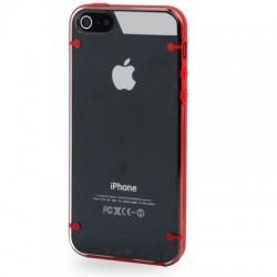 2 - Farve TPU & Transparent Cover til iPhone 5/5S - Rød