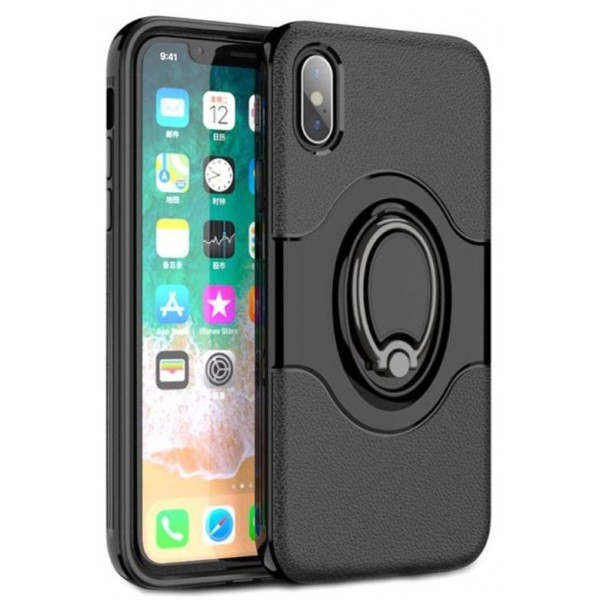 Magnetisk Ring iPhone X Cover - Sort