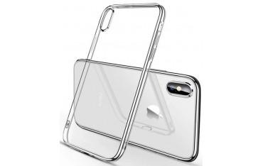 iPhone X / XS Silikone Cover - Gennemsigtig med Sølv kant