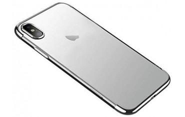 iPhone X / XS Silikone Cover - Gennemsigtig med Grafitgrå kant