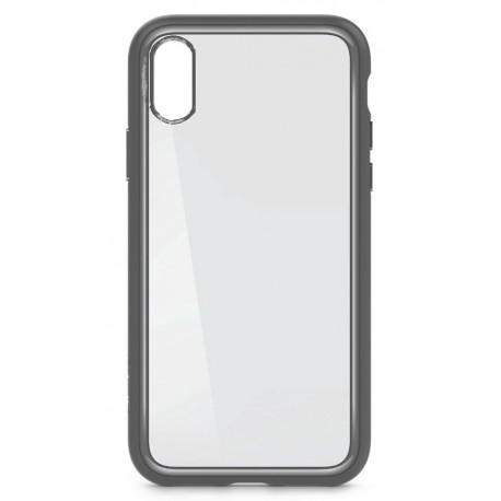 iPhone X/XS Silikone Cover - Gennemsigtig med Sølv kant