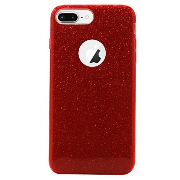 iPhone 6 Plus/6s All-around Beskyttelse Glimmer Cover - Rød