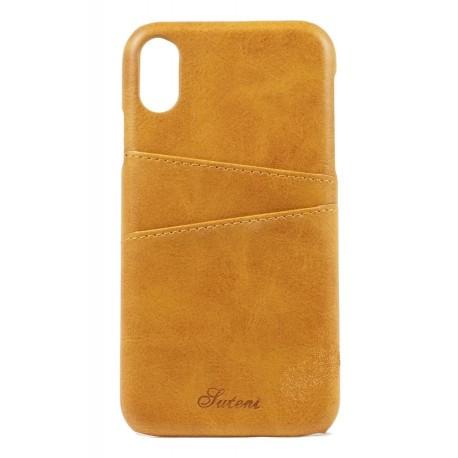 SUTENI iPhone X/XS Læder Cover med Kort Lomme - Sort