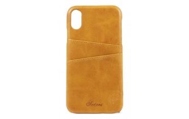 SUTENI iPhone X / XS Læder Cover med Kort Lomme - Lysebrun