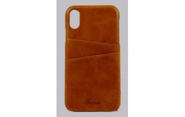 SUTENI iPhone X / XS Læder Cover med Kort Lomme - Brun
