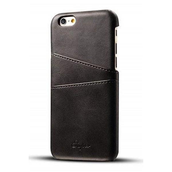 SUTENI iPhone 7/8 Læder Cover med Kort Lomme - Sort