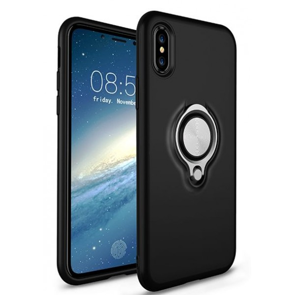 CASE iPhone X / XS Cover med Ringholder - Sort