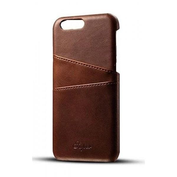 iPhone 7 Plus/8 Plus Læder Bagcover Med Kortholder - Brun