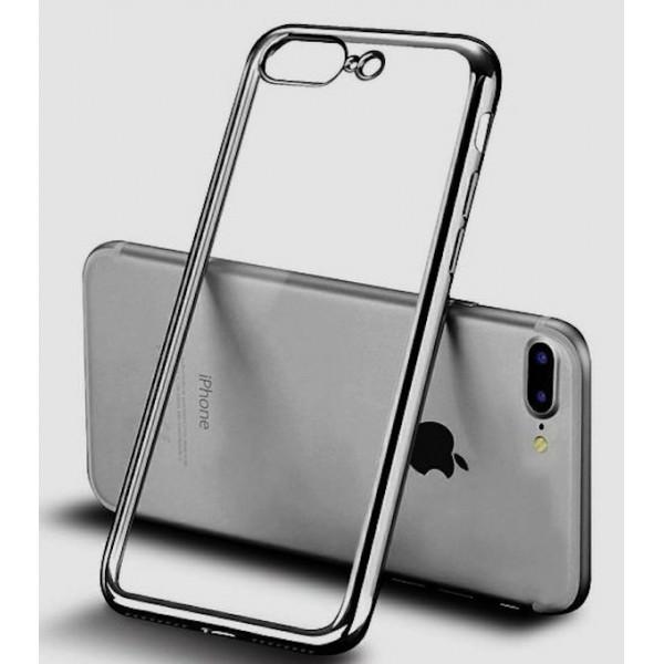 iPhone 7 Plus/8 Plus Silikone Cover - Gennemsigtig med Sølv kant