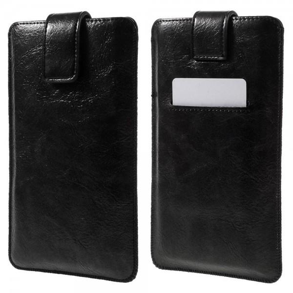 Universal Smartphone PU Læder Sleeve med Kort Lomme - XXL - Sort