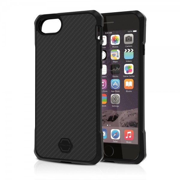 ITSKINS Antishock Carbon Case Cover til iPhone SE(2020) / 7 / 8 -  Sort