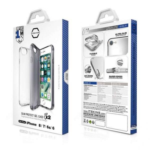 ITSKINS Antishock Gel Case Cover til iPhone 6 / 6s / 7 / 8 -  2 styk, Gennemsigtig og Grå