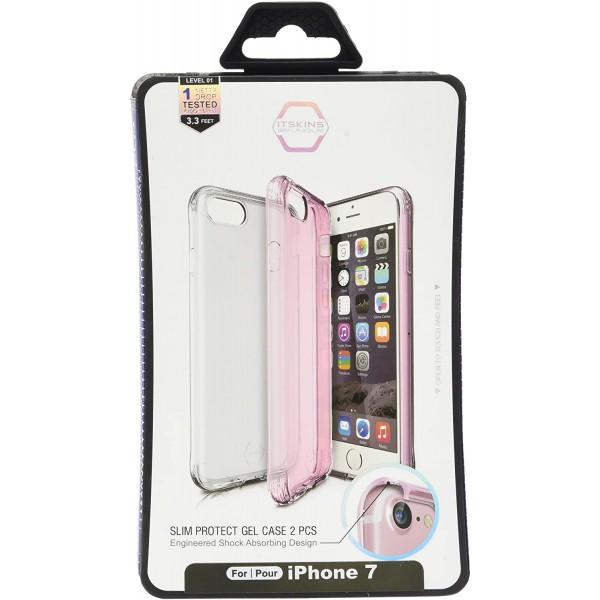 ITSKINS Antishock Gel Case Cover til iPhone 7 / 8 -  2 styk, Gennemsigtig og Pink