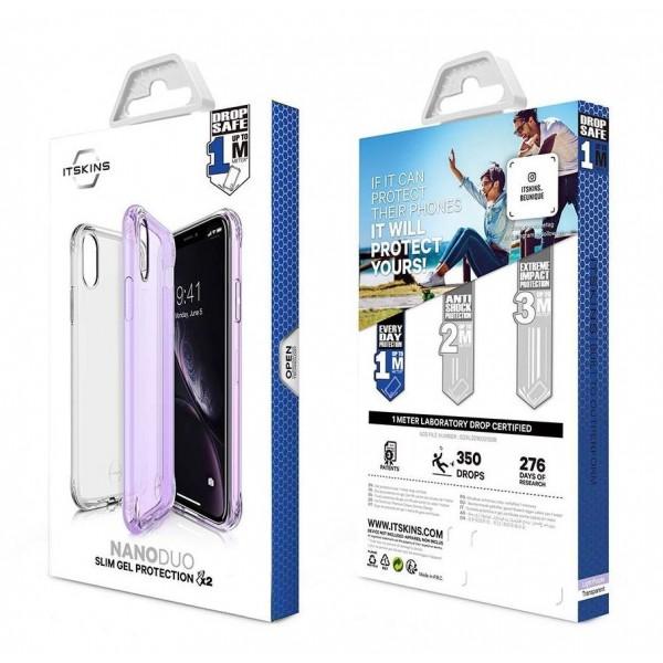 ITSKINS Antishock Slim Gel Cover til iPhone XS MAX 2-pak - Gennemsigtig og Lilla