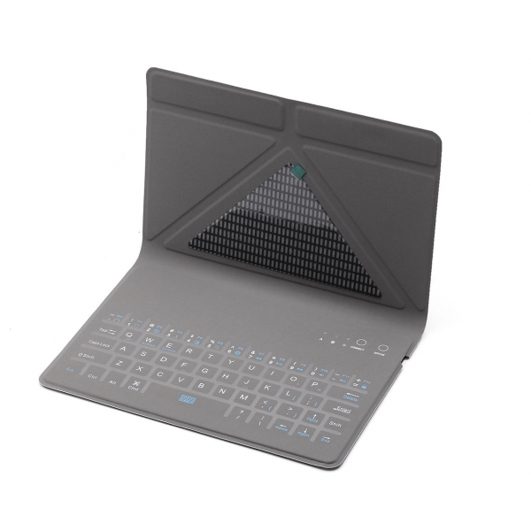 "Universal Bluetooth Keyboard m. Dansk Tastatur Læder Origami Case Blå 9""-11"""