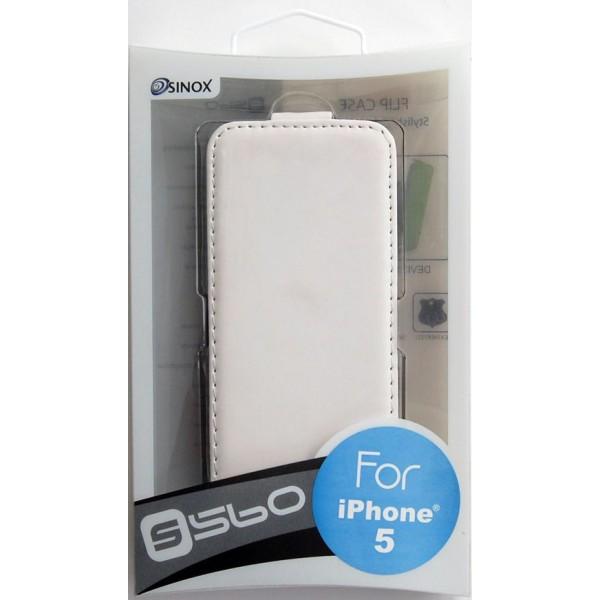 SiNOX S560 iPhone 5 / 5S / SE (1.Gen.) Flip Case Etui - Hvid