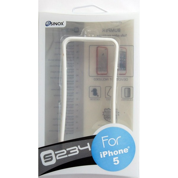SINOX S234 iPhone SE 5S 5 Plastik Kombination Bumper med Knapper Hvid