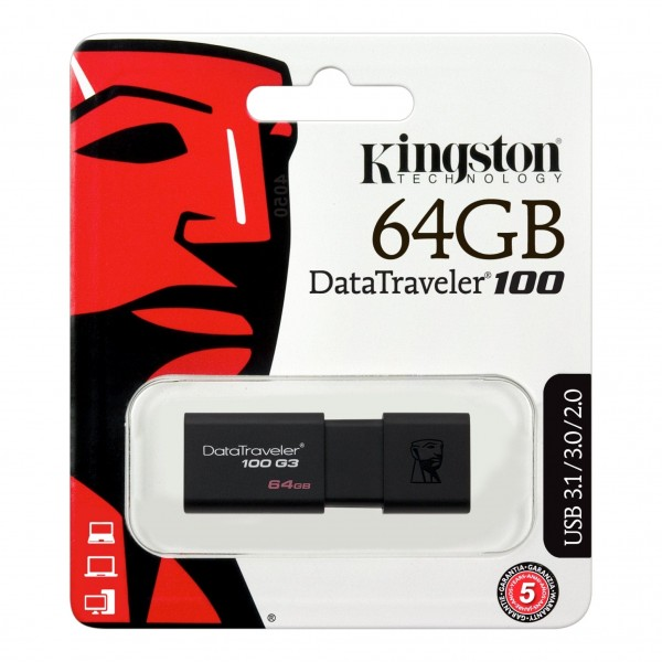 KINGSTON DataTraveler 100 G3 USB Nøgle 64 GB