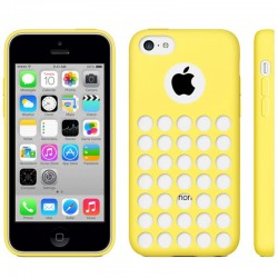 Hollow Dot TPU Cover til iPhone 5C - Gul