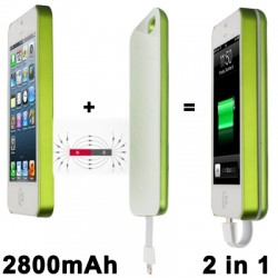 2800mAh Magnetic Adsorbtion Technology Mobile Power Bank til iPhone 5 / 5S (Grøn)