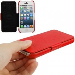 Smart læder etui med litchi mønstre til iPhone 5/5S - Rød