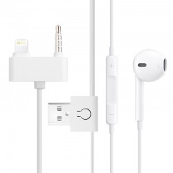 EarPods med Control-talk / Mikrofon & USB Sync Kabel til iPhone 5 & 5C & 5S / 1.5m (White)