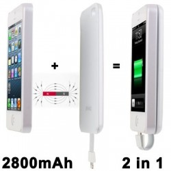 2800mAh Magnetic Adsorbtion Technology Mobile Power Bank til iPhone 5 / 5S (Hvid)