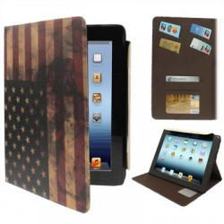 Retro USA flag læder etiu med kreditkort lomme til new iPad (iPad 3) / iPad 4