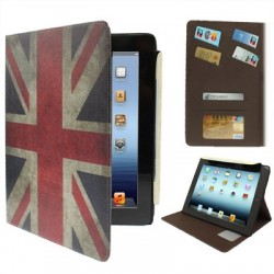 Retro Great Britain flag læder etiu med kreditkort lomme til new iPad (iPad 3) / iPad 4