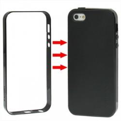 TPU Cover + Plastik Bumper Frame & Skærm beskyttelse til iPhone 5 & 5S (Sort)