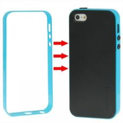 TPU Cover + Plastik Bumper Frame & Skærm beskyttelse til iPhone 5 & 5S (Baby Blå)