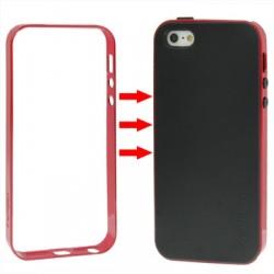 TPU Cover + Plastik Bumper Frame & Skærm beskyttelse til iPhone 5 & 5S (Rød)