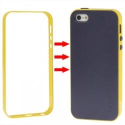 TPU Cover + Plastik Bumper Frame & Skærm beskyttelse til iPhone 5 & 5S (Gul)
