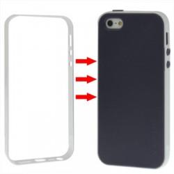 TPU Cover + Plastik Bumper Frame & Skærm beskyttelse til iPhone 5 & 5S (Hvid)