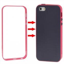 TPU Cover + Plastik Bumper Frame & Skærm beskyttelse til iPhone 5 & 5S (Pink)