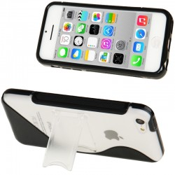 Frosted Plastic + TPU Protective Cover med Holder til iPhone 5C (Sort)