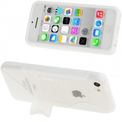 Frosted Plastic + TPU Protective Cover med Holder til iPhone 5C (Hvid)